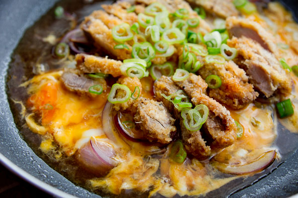 Tonkatsu donburi, a pork cutlet and egg rice bowl.