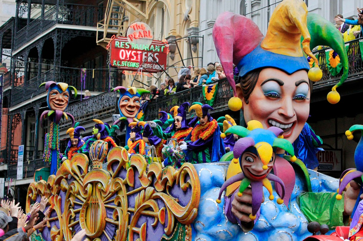 A float is seen in the parade down St. Charles Avenue on Mardi Gras Day in New Orleans